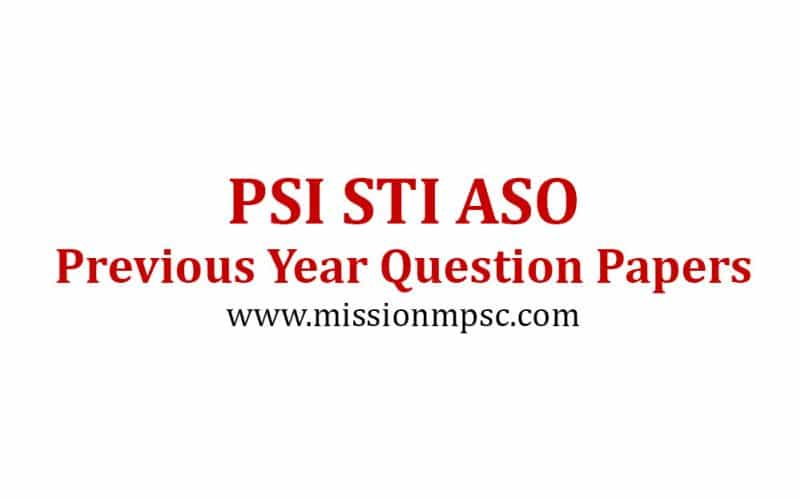 Mission PSI STI ASST Previous Year Question Papers Previous Year Question Papers PSI STI ASO
